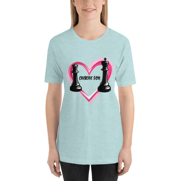 T-shirt echecs design unique Dame cherche son Roi