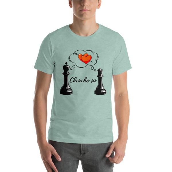 T-shirt echecs design unique Roi cherche sa Dame